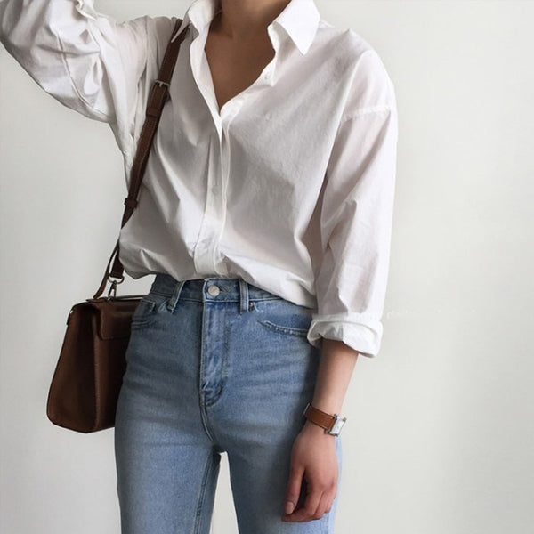 BGTEEVER Office Ladies White Shirts Blouses Women Spring Turn-down Collar Single-breasted Long Sleeve Shirts Female Tops Blusas