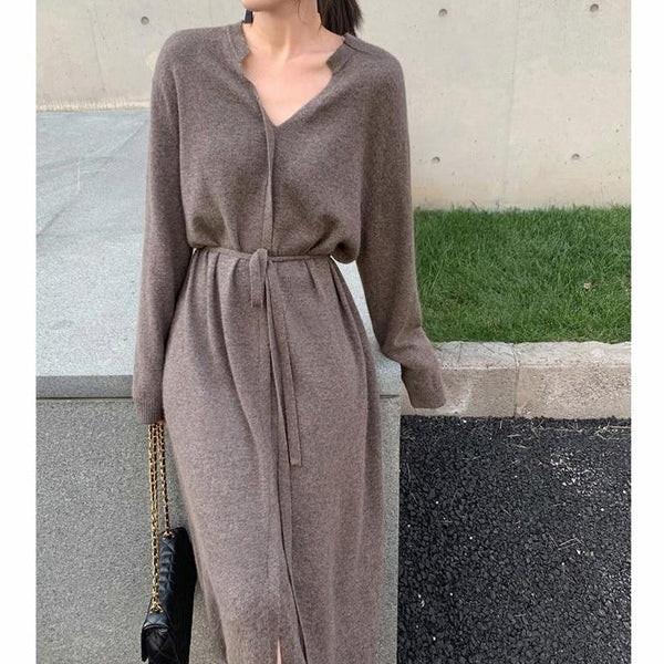 BGTEEVER Vintage Women Knitted Dress Autumn Winter Brief V-neck Warm Drawstring Lace-up Loose Midi Female Sweater Dress 2020