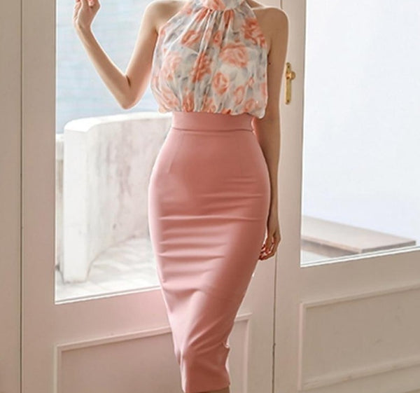 BGTEEVER Elegant Sleeveless Printed Women Chiffon Blouse & Slim Waist Knee-length Sheath Skirts 2020 Summer Female 2 Pieces Set