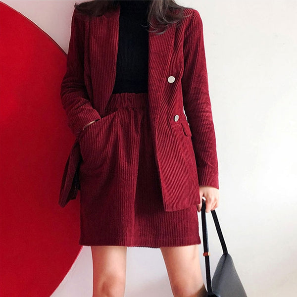 BGTEEVER Vintage Corduroy Women Skirt Suit Female 2 Pieces Set Blazer Jacket & Elastic Waist Women Blazer Set 2020 Spring