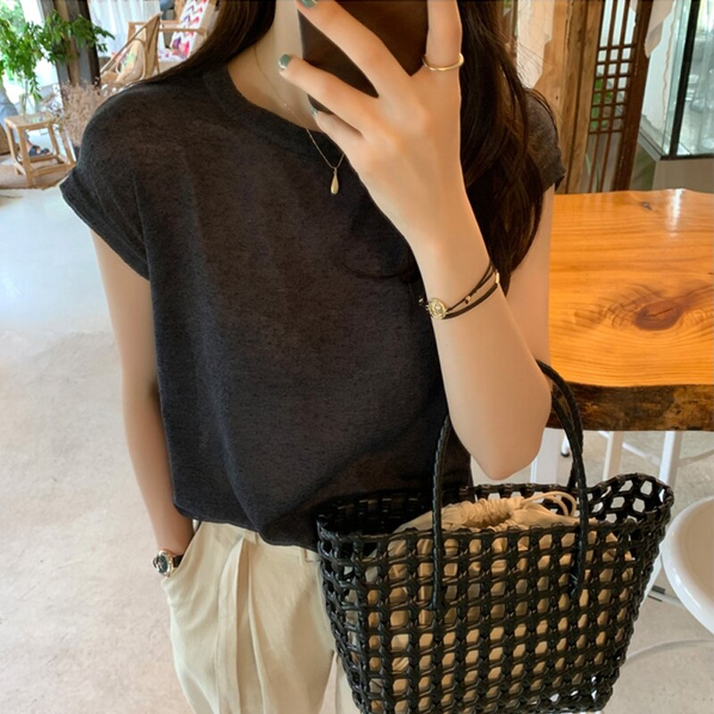 BGTEEVER Chic O-neck Short Sleeve Women T-shirt Korean Loose Cotton Female Basic Tops Shirt Spring Summer Ladies Tees 2020