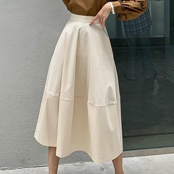 BGTEEVER Autumn Winter Elegant Elastic High Waist Women Mid-length Skirts 2020 New Fashion Loose Solid Female A-line Skirts