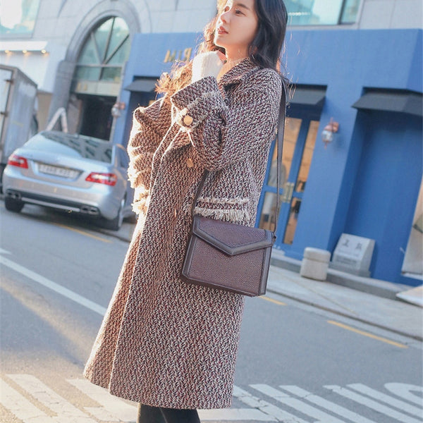 BGTEEVER Retro Houndstooth Woolen Coat Women Double-breasted Thicken Autumn Winter Long Coats Female Tassels Overcoats 2019