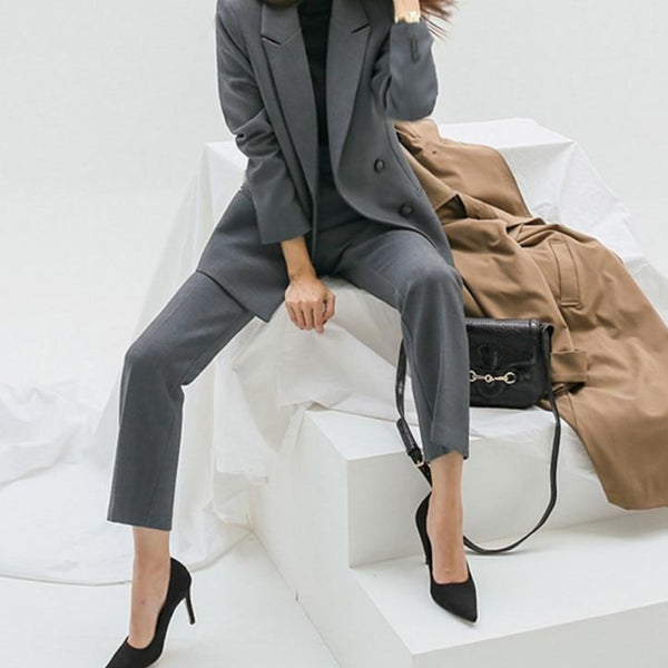 BGTEEVER Elegant Gray Women Pant Suits Double Breasted Jacket & High Waist Suit Pants Autumn 2 Pieces Sets Female Blazer Sets