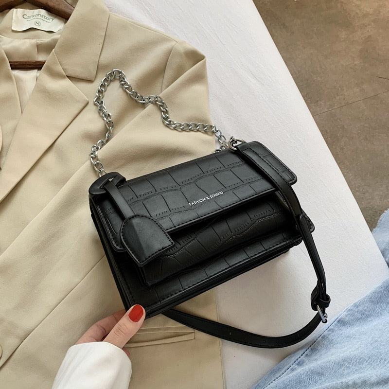 Fashion chain bag ladies messenger bag casual shoulder bag small square bag mobile phone bag solid color female bag wallet