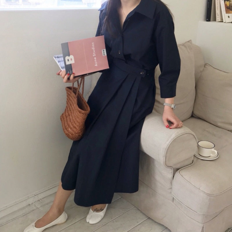 BGTEEVER Casual Long Sleeve Single-breasted Women Dress Minimalism Turn-down Collar A-line Female Vestidos femme 2020