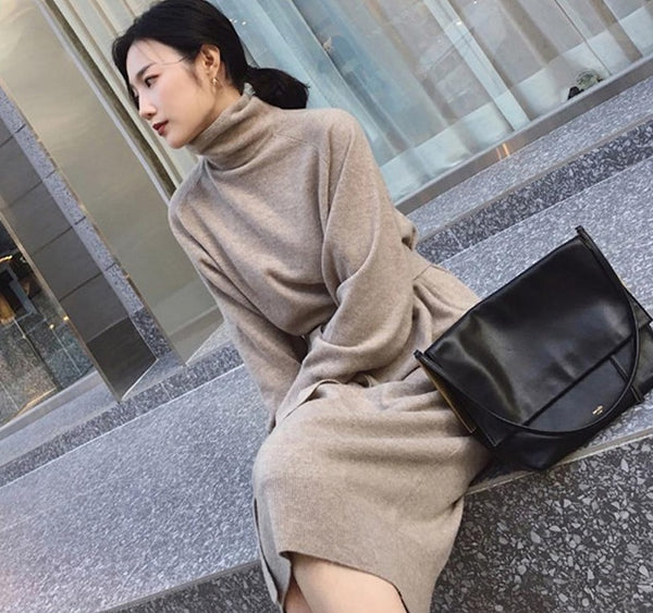 Women Sweater Dress Turtleneck Full Sleeve Sashes Women Knitted Vestidos Mid-length Loose Female Knit Dress 2020 Autumn Winter