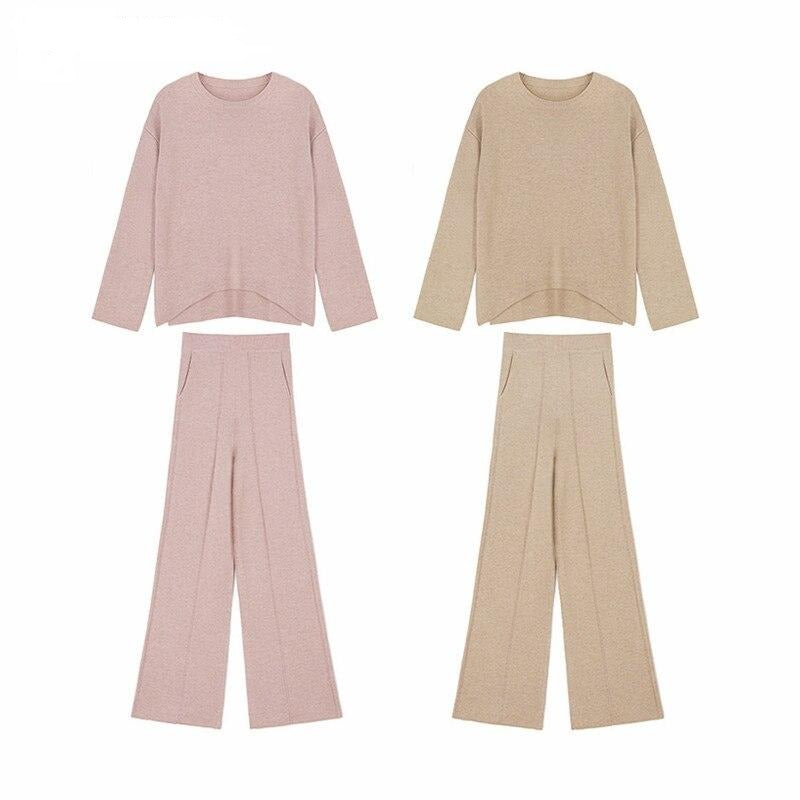 BGTEEVER Autumn Winter Knitted 2 Pieces Set Women Irregular Knit Pullovers & Wide Leg Long Pants 2020 Casual Women Sweater Set