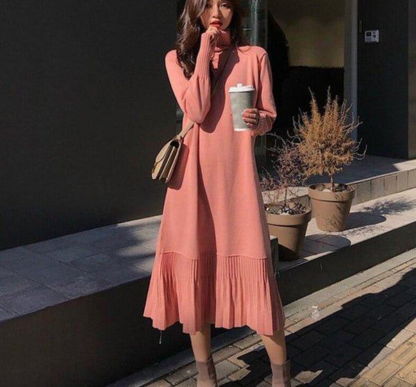 Elegant Loose Women Sweater Dress 2019 Autumn Winter Dress Female A-line Ruffles Knitted Dress Femm Casual Pullover Vestidos