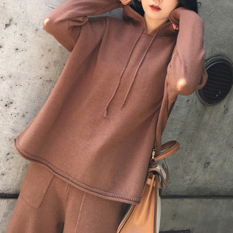 BGTEEVER Casual Knitted 2 Pieces Set Women Hooded Pullovers & Elastic Waist Wide Leg Pants 2020 Autumn Winter Sweater Set Female