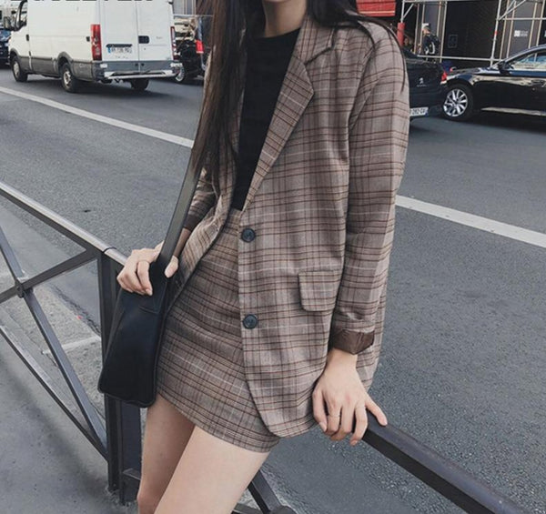 2019 Retro Plaid Blazer Sets Single-breasted Jacket & Pencil Skirt Vintage 2 Pieces Skirt Suits Female Office Ladies Blazer Suit
