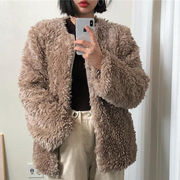 BGTEEVER Thick Fluffy Coat Women Open Stitch Soft Female Winter Coats Outwear Fake Lamb Cashmere Coat Streetwear Ladies Jackets