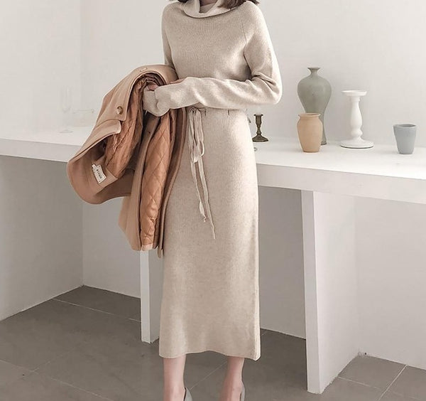 Autumn Winter Women Sweater Dress Turtleneck Full Sleeve Lace-up Waist Women Knitted Vestidos Mid-length Female Knit Dress 2019