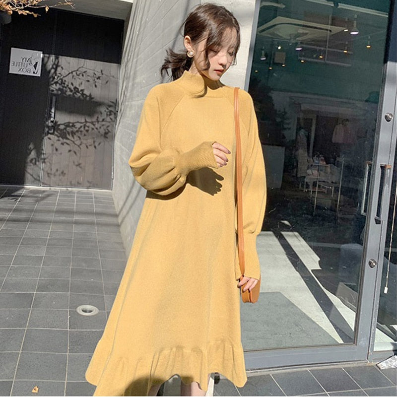 BGTEEVER Elegant Half-turtleneck Loose Women Sweater Dress Chic Autumn Winter Dress Ruffles Aline Female Jumpers Vestidos 2019
