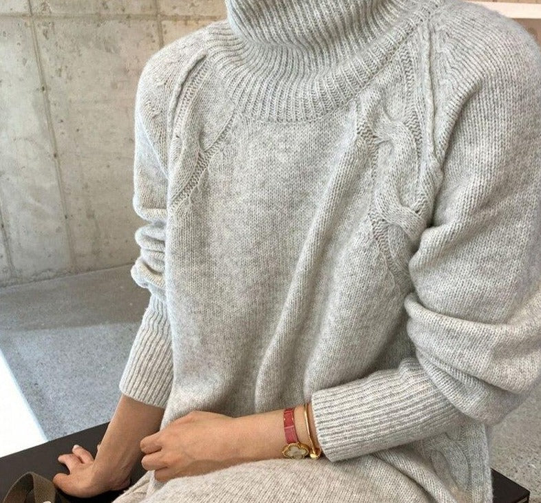 BGTEEVER Turtleneck Full Sleeve Oversized Knit Dress Female 2020 Winter Vestidos Casual Thick Twisted Women Long Sweater Dress