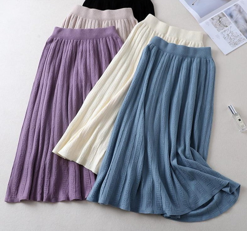 BGTEEVER Thick Warm Women Pleated Skirts Autumn Winter Elastic High Waist Knitted Sweater Skirts Long A Line Midi Purple Skirt