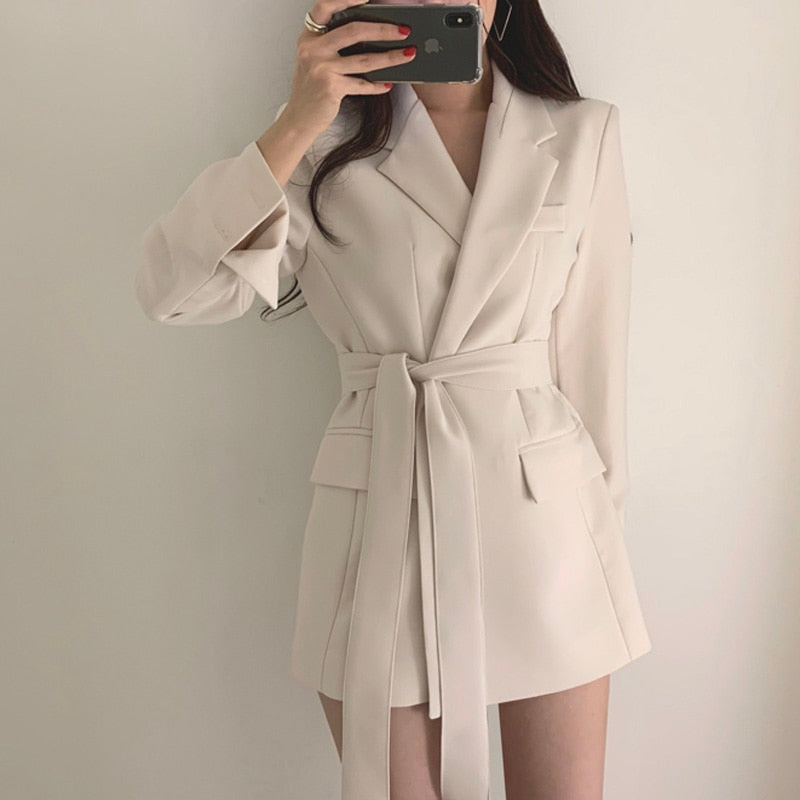 Vintage Bandage Women Blazer Turndown Collar Sashes Women Jacket Elegant Slim Outerwear 2019 Autumn Full Sleeve Blazers Jacket