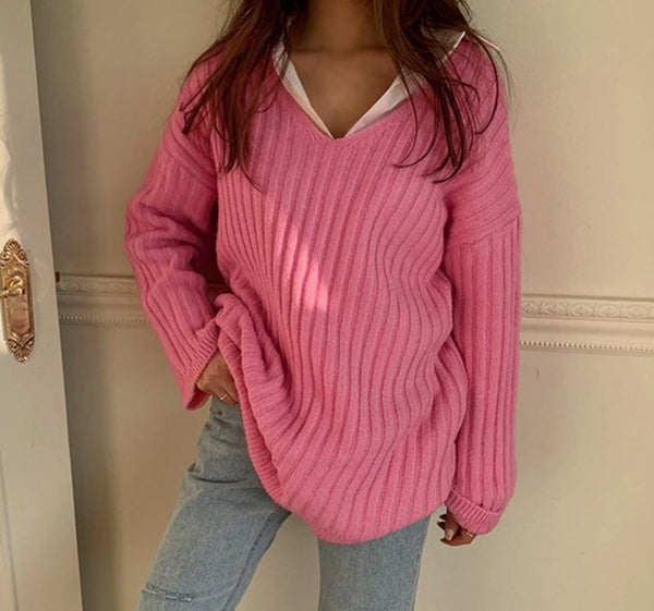 BGTEEVER Autumn Thick V-neck Sweater Jumpers 2020 New Full Sleeve Loose Female Striped Knitted Pullovers Ladies Warm Knitwear