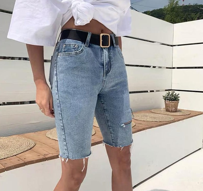 BGTEEVER Casual Stretch High Waist Blue Destroy Ripped Denim Shorts Women Pockets Tassel Midi Shorts Jeans for Women 2020 Summer