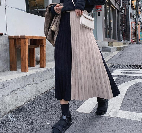 2019 Autumn Winter Thick Women Knitted Skirt High Waist Patchwork Female Sweater Skirts Vintage Pleated Midi Ladies Skirt