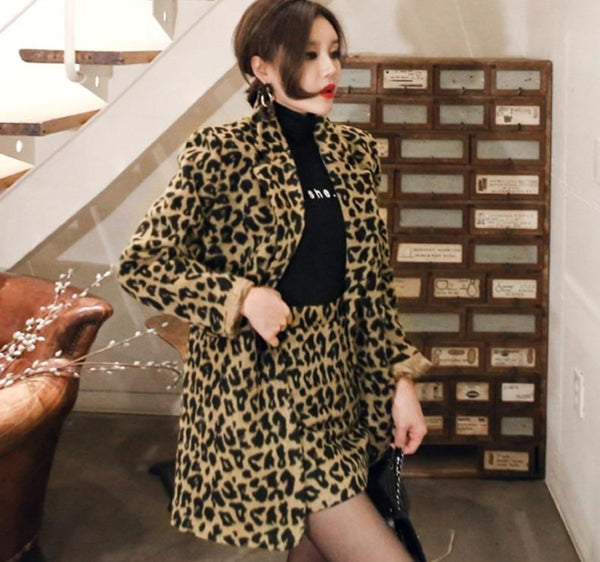 BGTEEVER Fashion Notched Collar Leopard Print Blazer & Mini Skirt Women Skirt Suit Winter High Street Female 2 Pieces Sets 2020