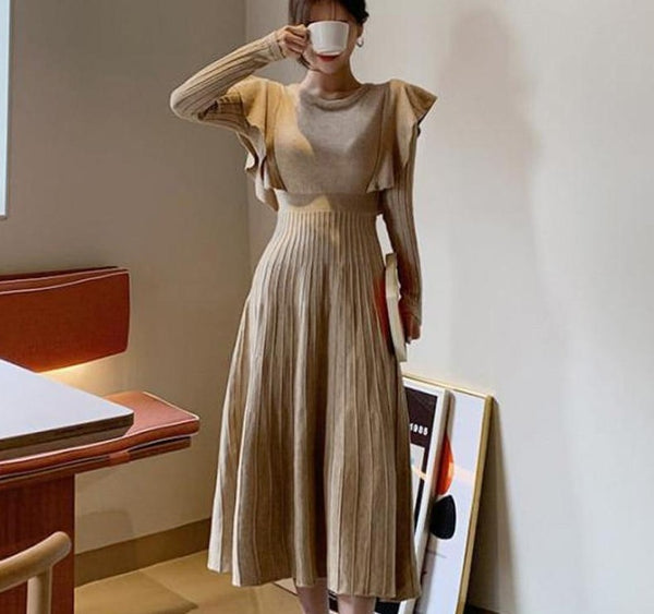 BGTEEVER Elegant O-neck Female Thicken Knit Dress Slim Full Sleeve Ruffles Long Dress Women Sweater Vestidos Femme 2019 Winter