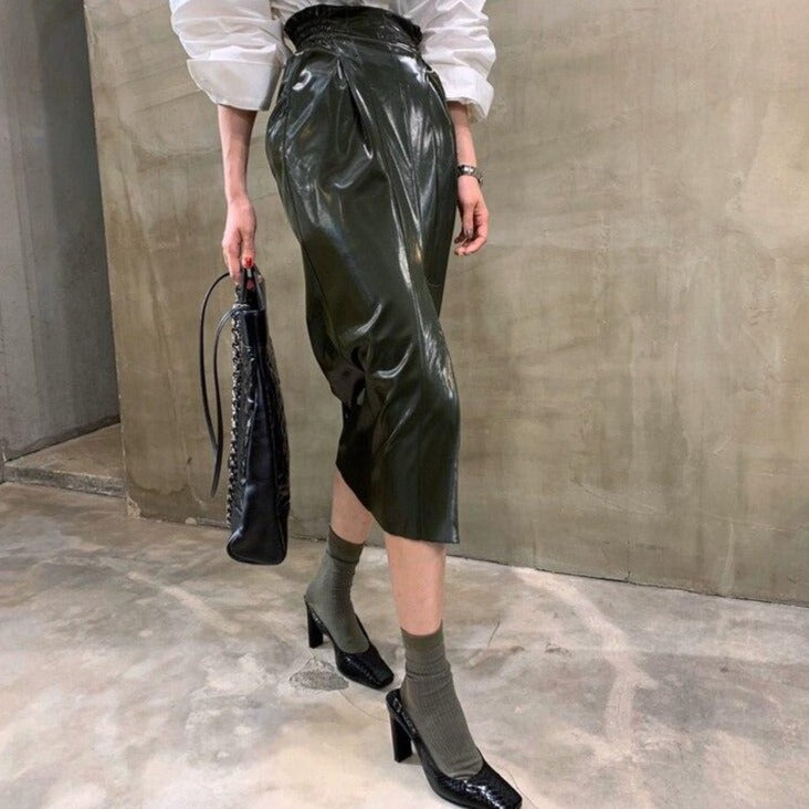 BGTEEVER Fashion Chic High Waist Split Female PU Leather Midi Skirts 2020 Autumn Streetwear Women Skinny Package Hip Skirts