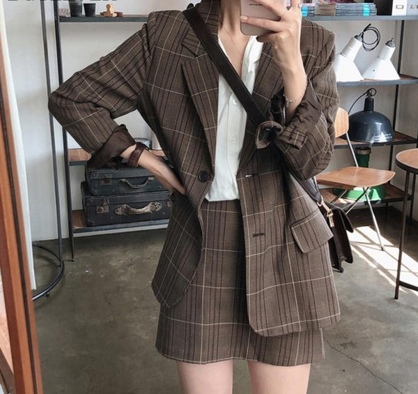 Vintage Two-piece Plaid Blazer Suits Women Single-breasted Jacket & Pencil Skirt Women Skirt Suit Casual Blazer Sets 2019 Autumn