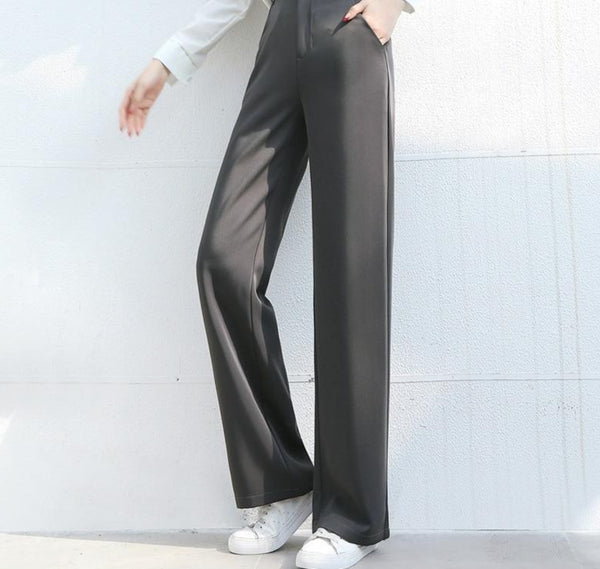 BGTEEVER Casual Loose Suit Pants Female Trouser High Waist Office Ladies Straight Women Long Pants Capris femme 2020