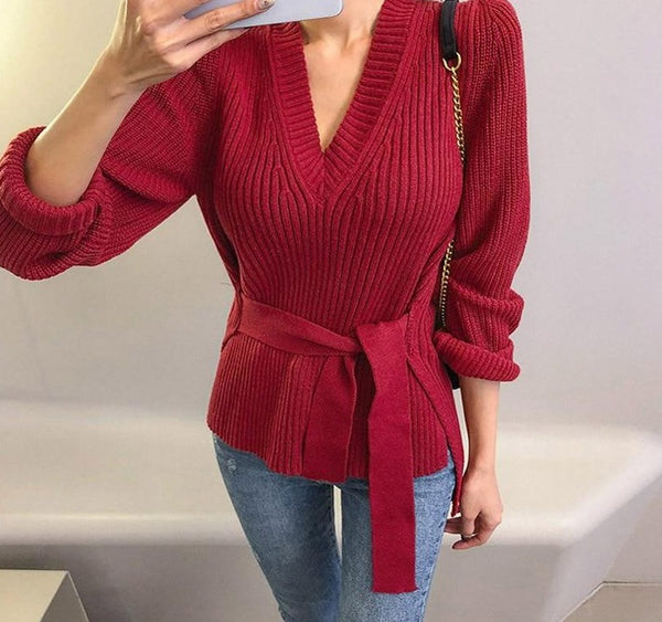 BGTEEVER 2020 New Sexy V-neck Side Split Women Sweaters Vintage Lace Up Knitted Pullovers Femme Autumn Ladies Pullover Jumper
