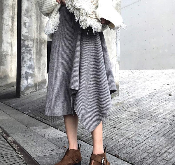 BGTEEVER Fashion A-line Irregular Women Sweater Skirt Elastic Waist Pleated Mid-length Female Knitted Skirts 2019 Winter Skirt
