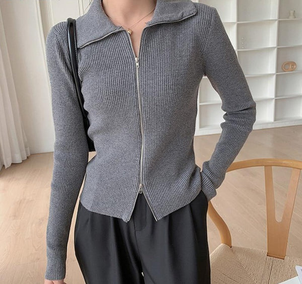 BGTEEVER Fashion New Autumn Lapel Zipper Up Women Cardigans Tops Chic Full Sleeve Slim Female Knitted Open Stitch Sweaters 2020