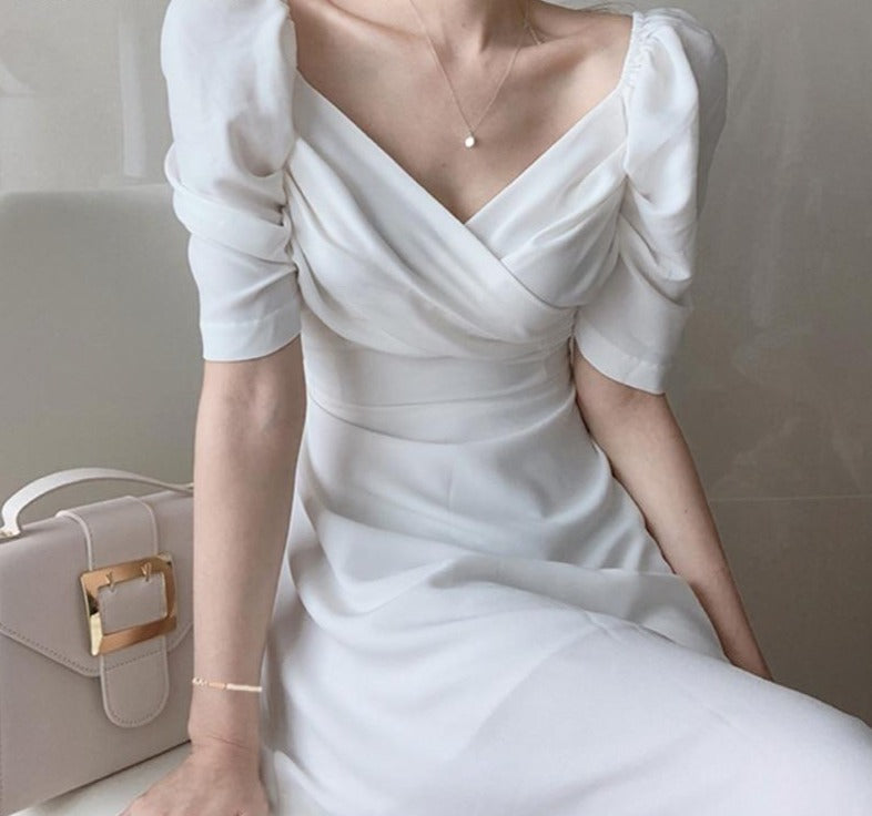 BGTEEVER Retro V-neck Slim Waist Women Dress Elegant Puff- Sleeve White Female A-line Dress 2020 Summer Party Vestidos femme