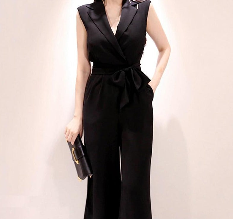 BGTEEVER Summer Office Ladies Sleeveless Rompers Notched Collar Belted Wide Leg Women Overalls 2020 Female Jumpsuit