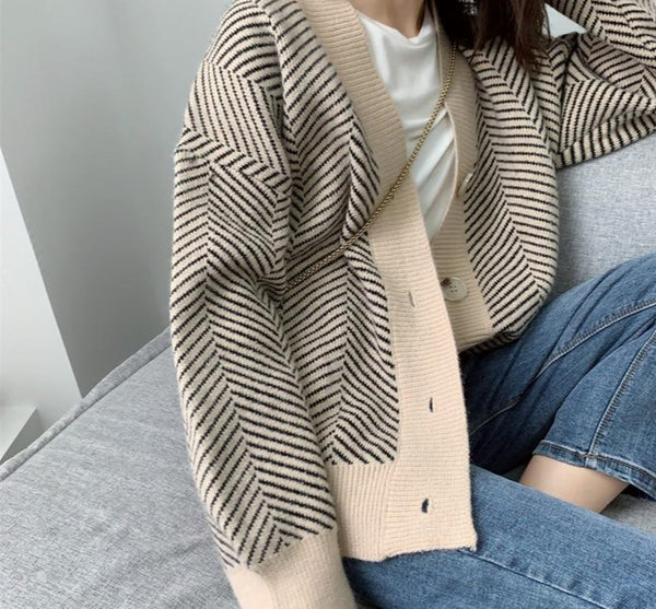 BGTEEVER Vintage Loose Women Striped Open Stitch Sweater 2020 Autumn V-neck Single-breasted Casual Female Knitted Cardigans