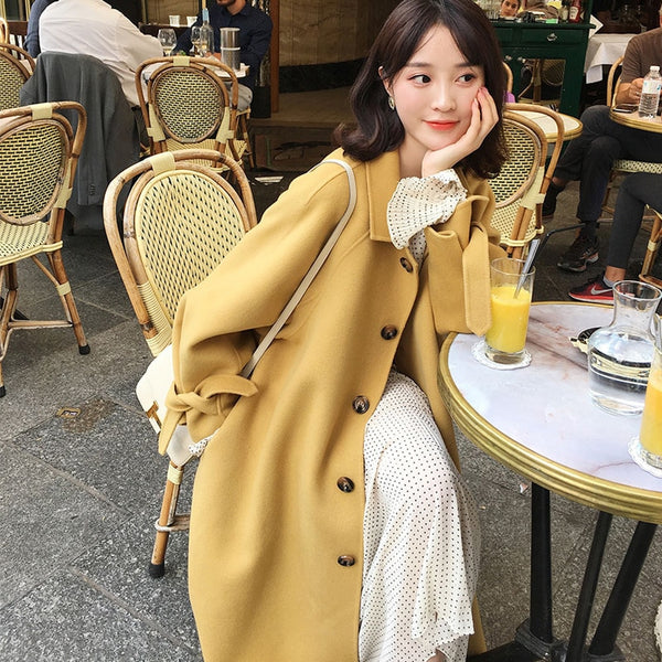 BGTEEVER Winter Thick Female Woolen Coats Turn-down Collar Single-breasted Pocket Belted Women Blend Coats 2019 Women Long Coat