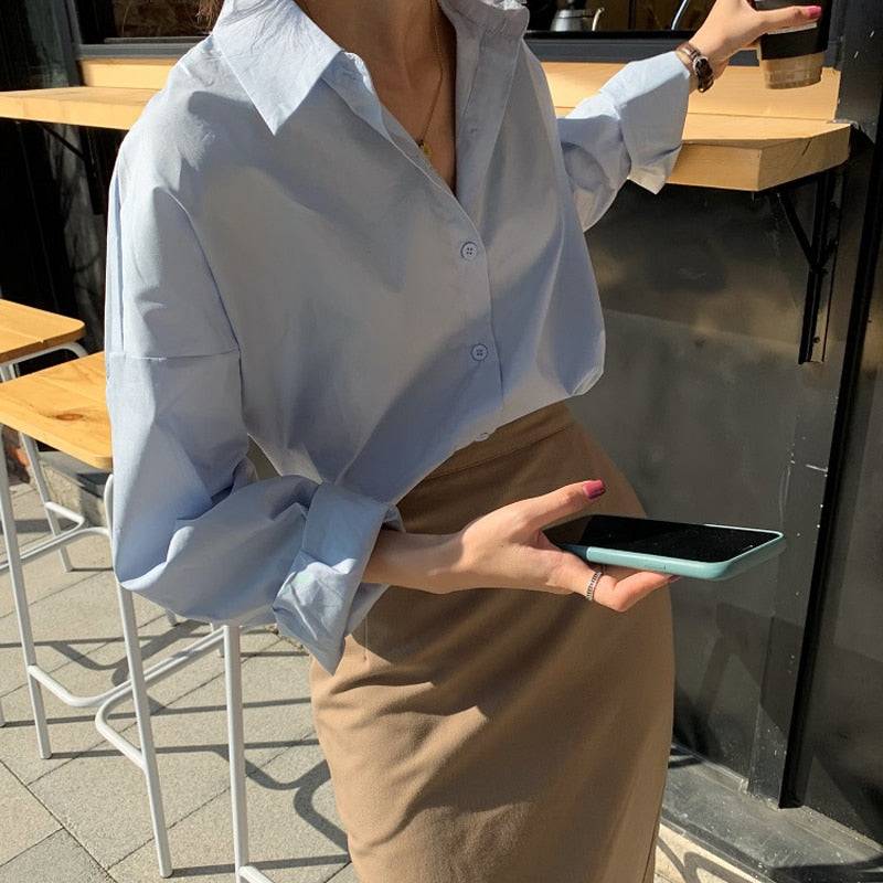 BGTEEVER Casual Basic Tops Shirts Women 2020 Turn-down Collar Single-breasted Solid Female Blouses Office Ladies Blusas Tops