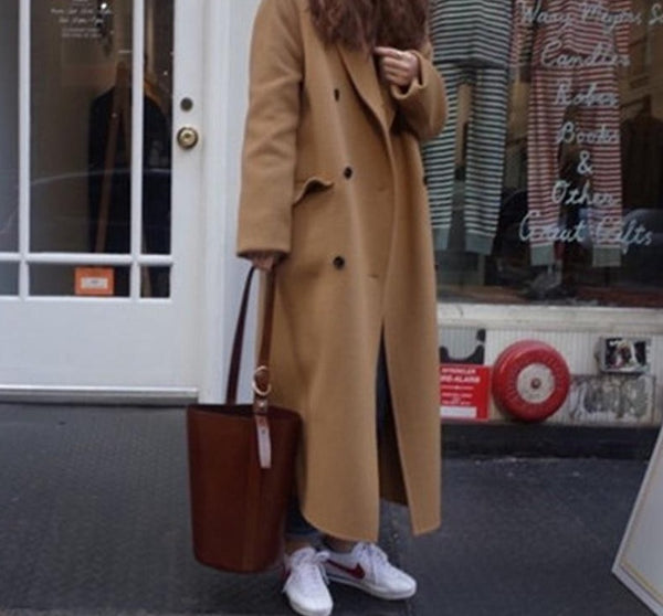 BGTEEVER Vintage Notched Collar Double Breasted Women Blend Coats Winter 2020 Stylish Thick Long Loose Female Woolen Coats