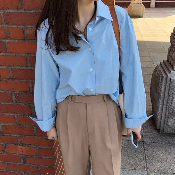 BGTEEVER Casual Loose Women Blouses Shirts Minimalist Single-breasted Female Blue Shirts 2020 Spring Summer Tops Oversized femme