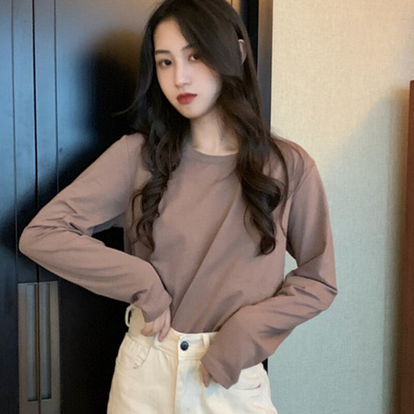 2019 Autumn Basic Long Sleeve Women t-shirt Casual Cotton t shirt for Lady Girl Top Tees Loose Solid O-neck Female Tops 9 Colors