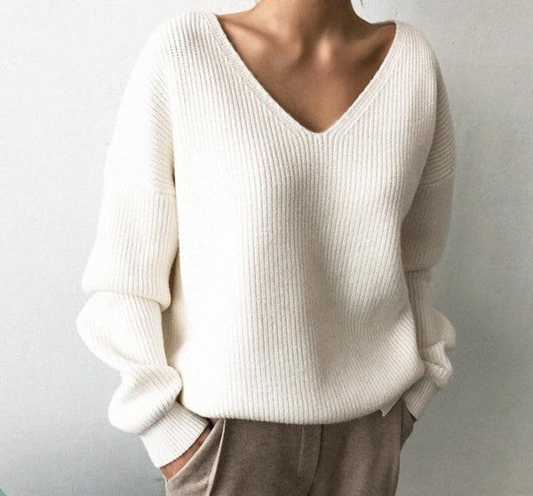 BGTEEVER Casual V-neck Long Sleeve Loose Women Pullover Sweaters 2020 Autumn Winter Chic Irregular Hem Female Knitting Jumpers