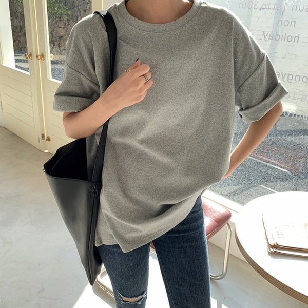 BGTEEVER Solid Cotton Women T-shirt 2020 Casual Short Sleeve Loose Bottoming Female O-Neck Basic Tops Shirt Femme 6 Colors