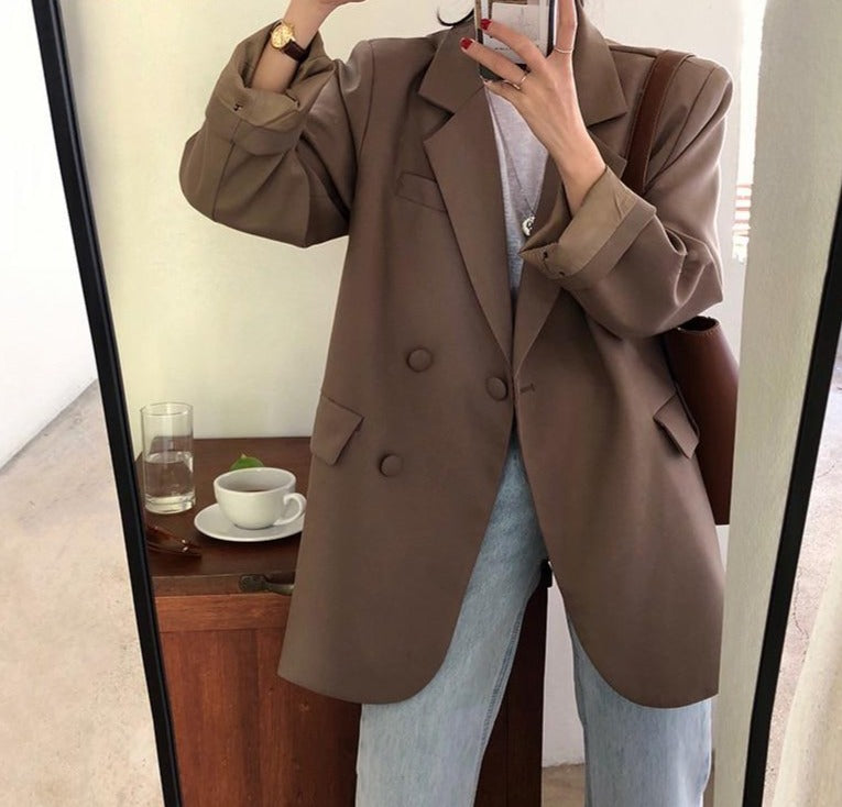 BGTEEVER Chic Loose Light Green Women Blazer Summer One Button Female Suit Jacket Full Sleeve Outwear blaser femme 2020