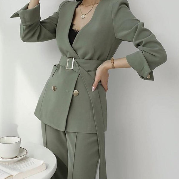 BGTEEVER Elegant Women Blazer Suit Autumn Office Ladies Pant Suits V-neck Belted Blazer & Suit Pants 2020 Work Wear Female Sets