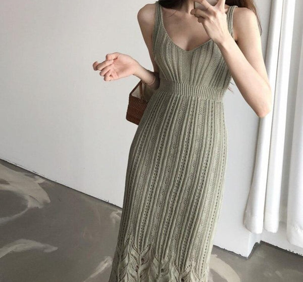 BGTEEVER Casual V-neck Spaghetti Strap Sleeveless Bodycon Dress Women Summer Female Knitted Dress 2020 Hollow-out Midi Vestidos