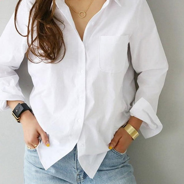 S-3XL Spring One Pocket Women White Blouse Female Shirt Tops Long Sleeve Casual Turn-down Collar OL Style Women Loose Blouses