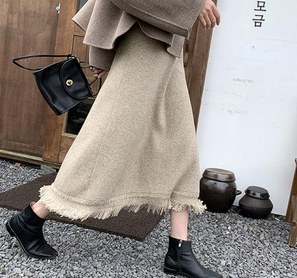 BGTEEVER Stylish Chic Women A-line Tassels Mid-Calf Sweater Skirts 2020 New High Waist Loose Female Knitted Skirts Autumn Winter