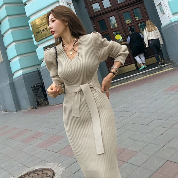 BGTEEVER Sexy V-neck Lace Up Women Sweater Dress Elegant Side Split Autumn Winter Dress Female Sheath Knit Jumpers Vestidos 2019