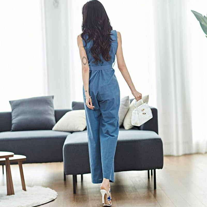Summer V-neck Sashes Jumpsuit Female Elegant Notched Wide Leg Overalls for Women Office Ladies Femme Rompers Women Jumpsuit 2019