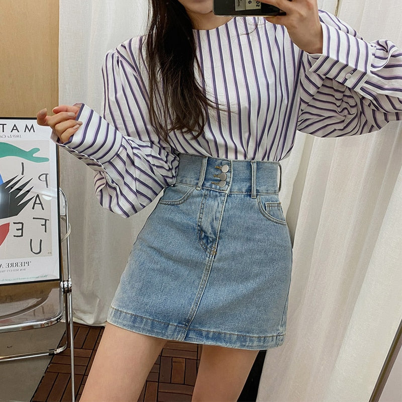 BGTEEVER Casual High Waist Women Denim Skirt Singke-breasted Pockets Female Jeans Skirts Spring Summer Ladies Mini Skirts 2020